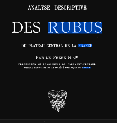 Analyses descriptive du RUBUS 1891