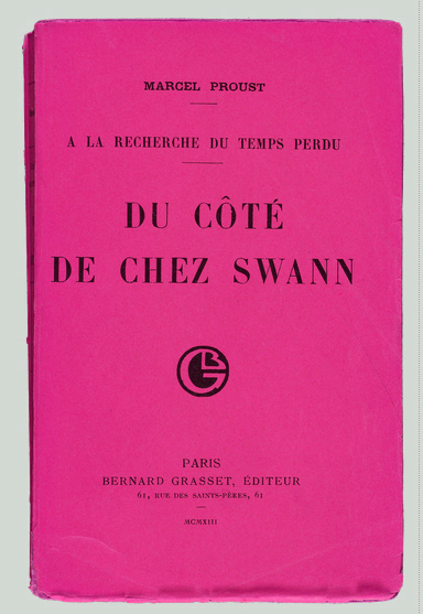 1913 first edition A LA RECHERCHE cover - graphic rifting (pink)