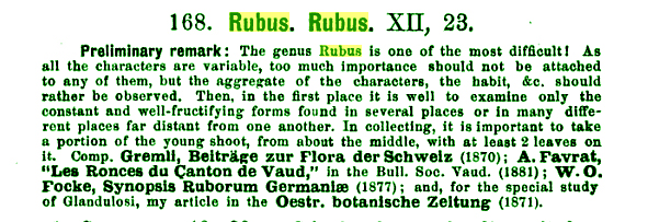 Rubus 1889 The Flora of Switzerland